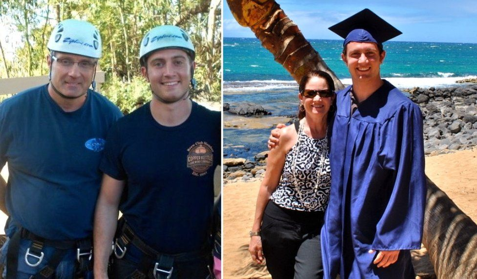 Collage photograph of Alex pictured with his dad in protective helmets, and with his mother at beach while graduating