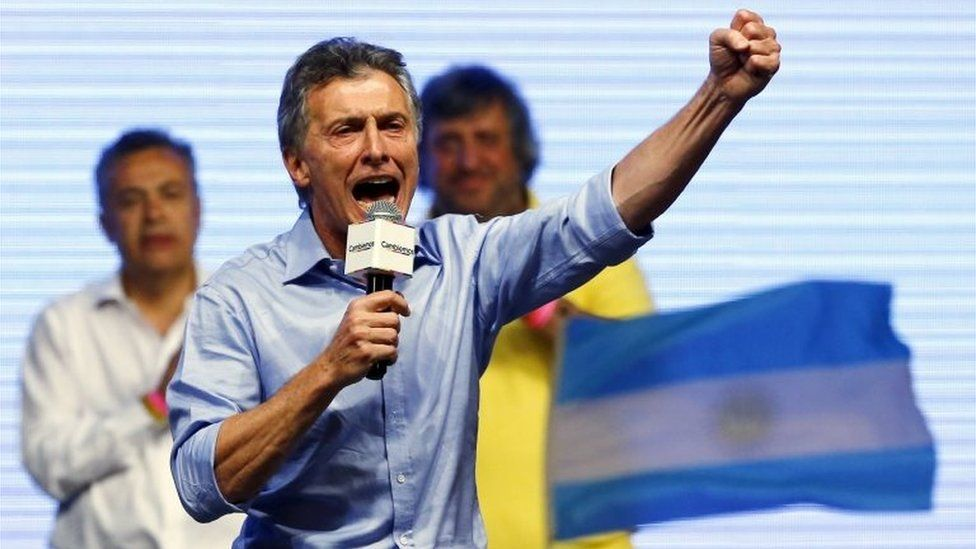 Mauricio Macri gestures to his supporters after the presidential election in Buenos Aires on 22 November, 2015.