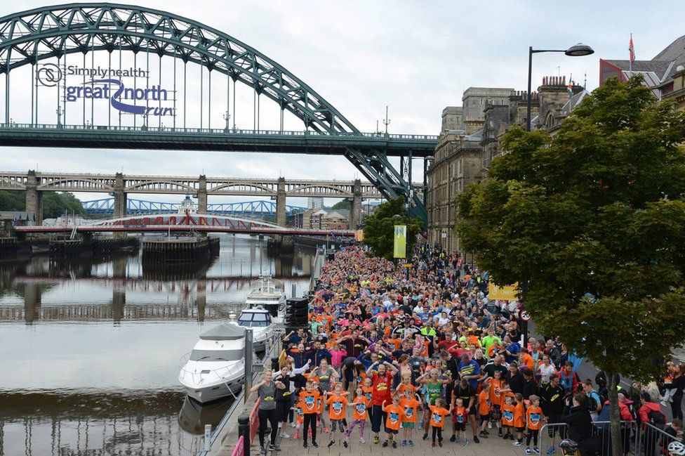 Thousands of runners line up for the Mini and Junior Great North Runs on Newcastle Quayside