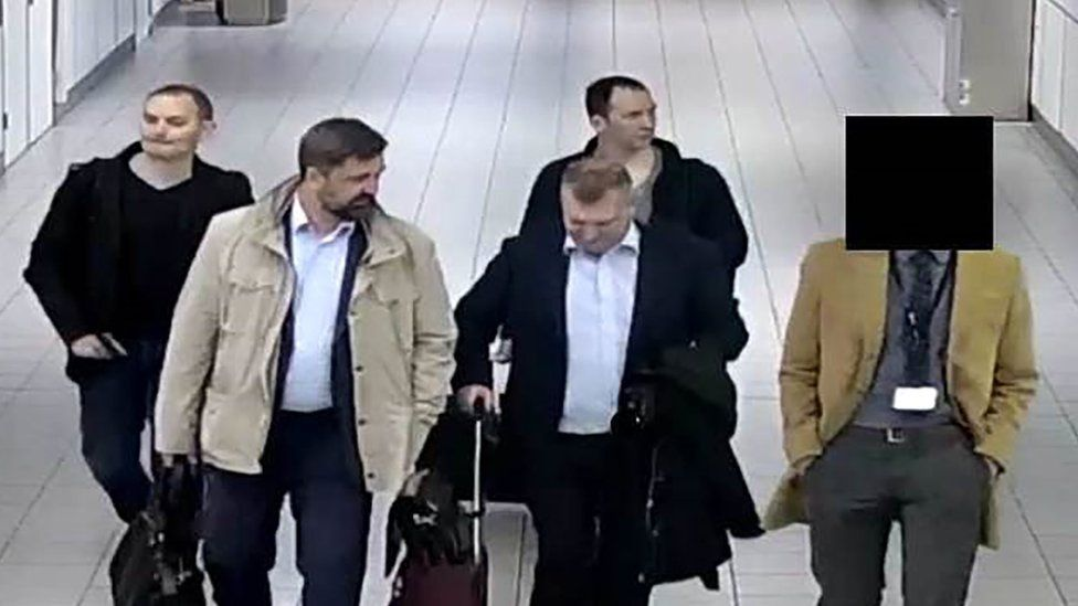CCTV footage of four suspects travelling to the Netherlands on diplomatic passports earlier this year