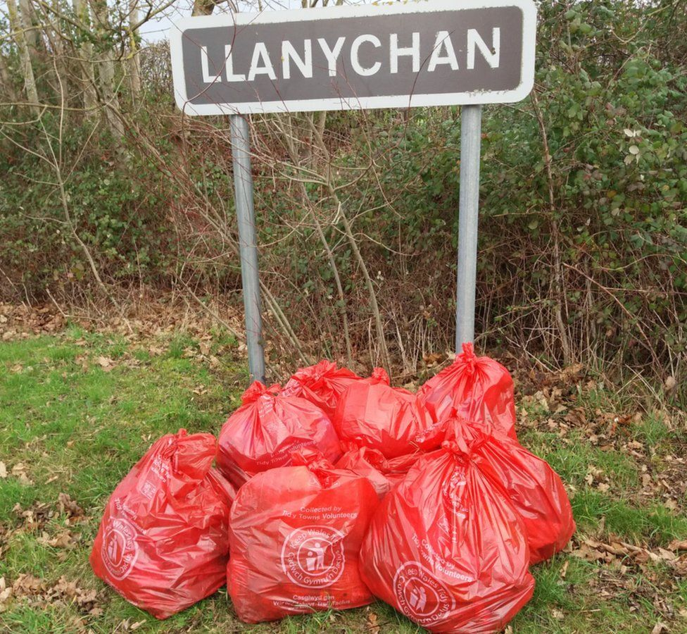 Some of the waste bags filled by Alison Henshaw and other volunteers