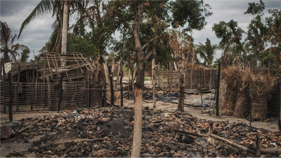 The remains of a burned and destroyed home is seen in the recently attacked village of Aldeia da Paz outside Macomia, on August 24, 2019.