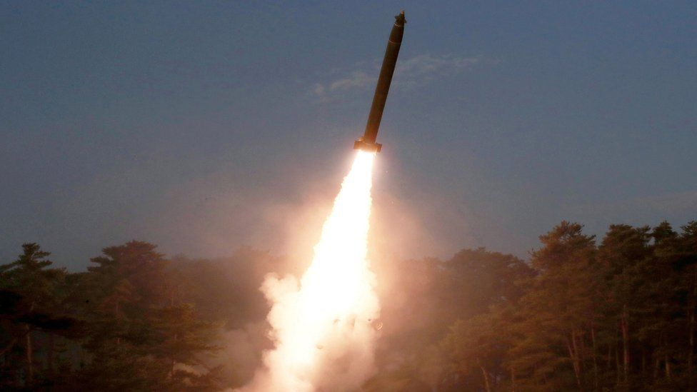 A missile launch in North Korea
