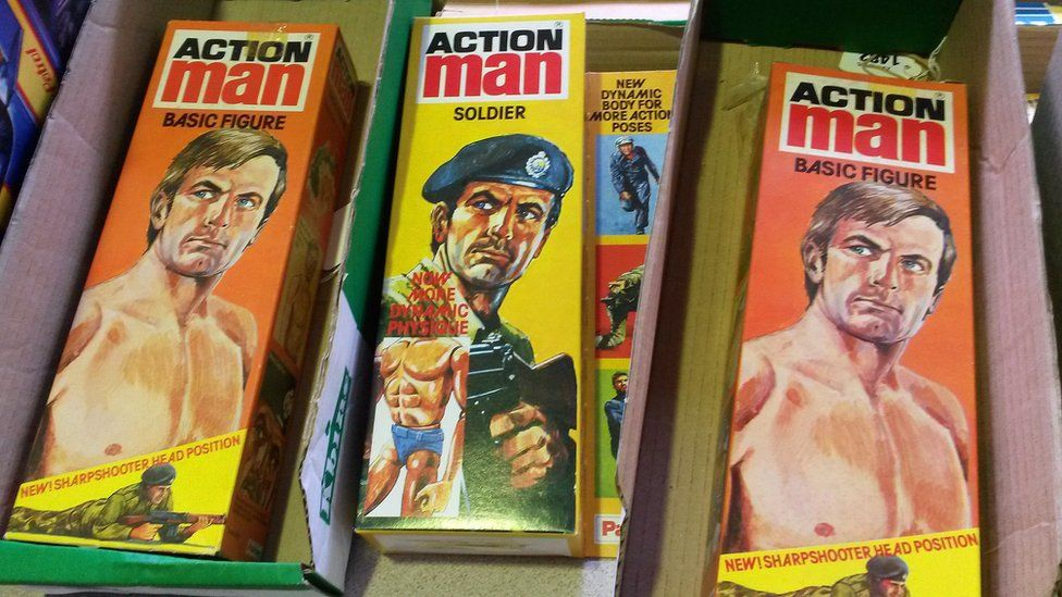 Box containing Action Man doll boxes