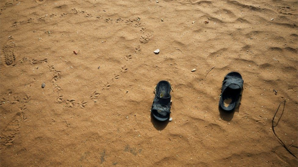 Slippers are pictured at the school compound in Dapchi in the northeastern state of Yobe, where dozens of school girls went missing after an attack on the village by Boko Haram, Nigeria February 23, 2018