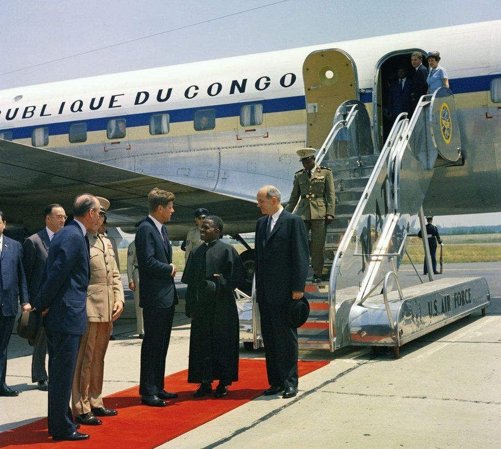 President John F. Kennedy greets Fulbert Youlou, President of the Republic of Congo (Brazzaville)