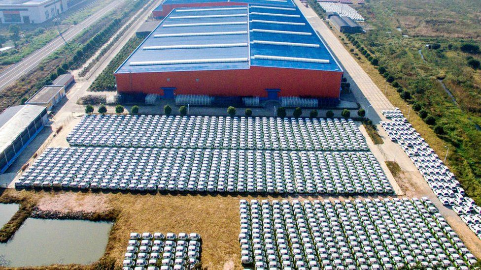 EVs lined up at a factory in Zhejiang Province,China.