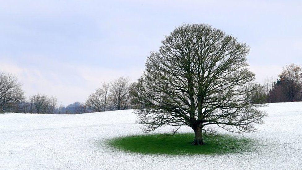 A snow covered field near Ashford in Kent