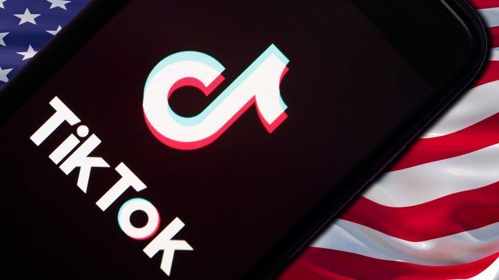 Tik Tok open on iphone on US flag