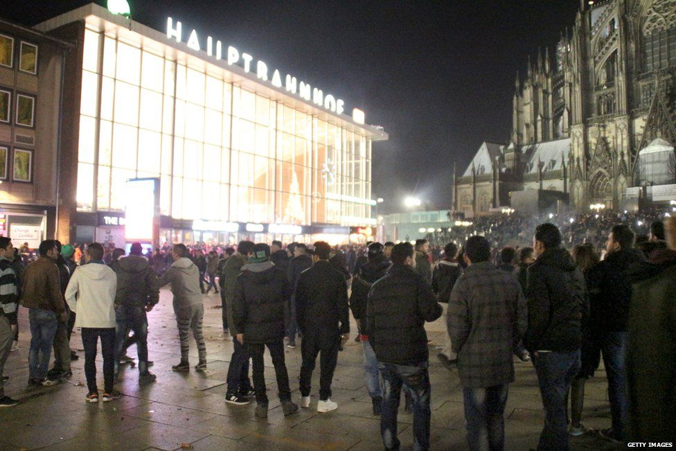 Crowds gather around Cologne station on 31 December