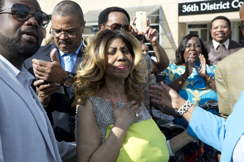 Singer Aretha Franklin becomes emotional during her street naming on June 8, 2017 in Detroit, Michigan