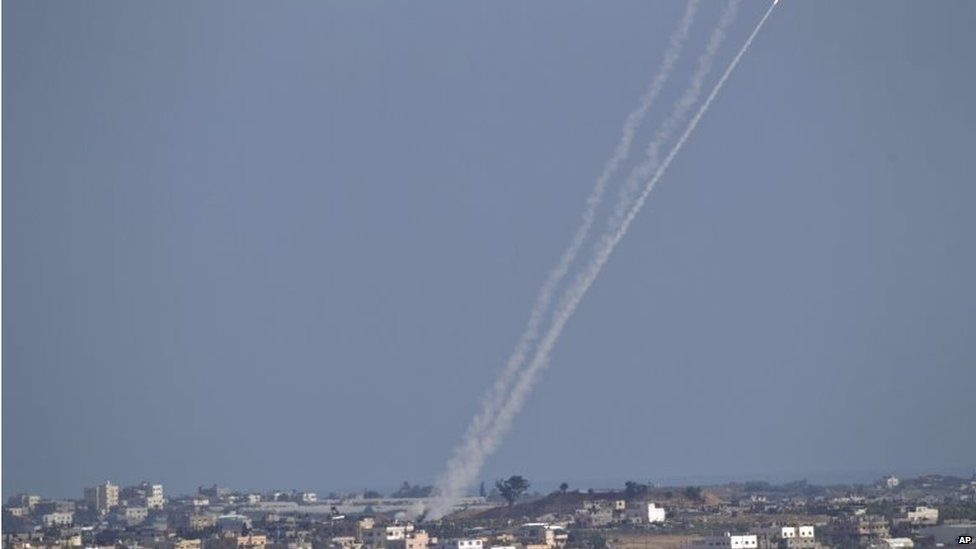 Rocket fired from Gaza towards Israel (16/07/14)