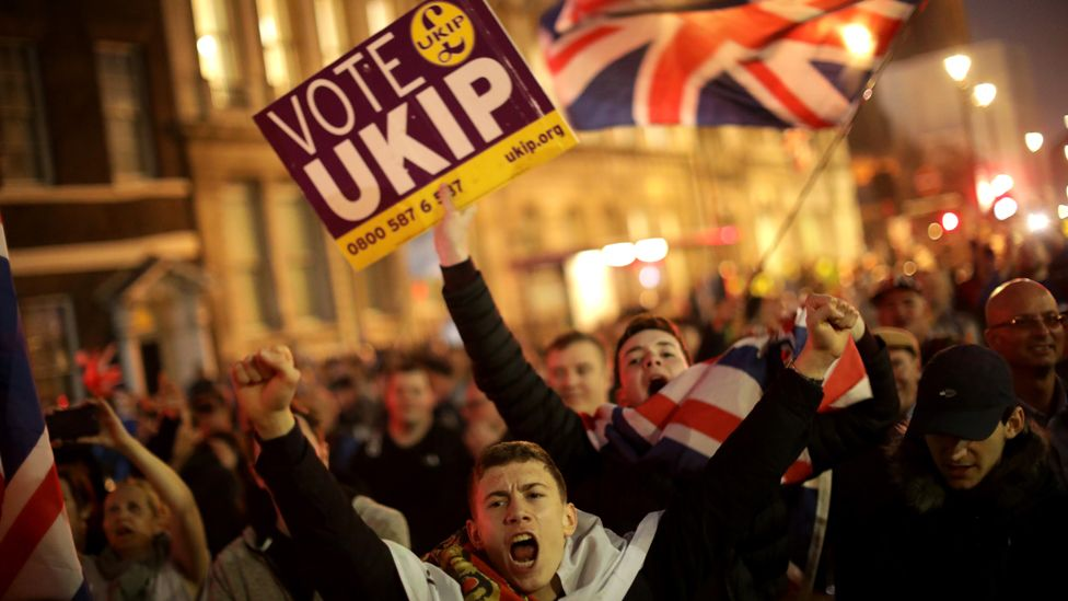 Demonstrators punch the air and march holding flags and Vote UKIP placards