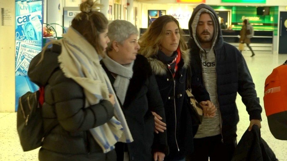 Emiliano Sala's family arriving at Guernsey Airport