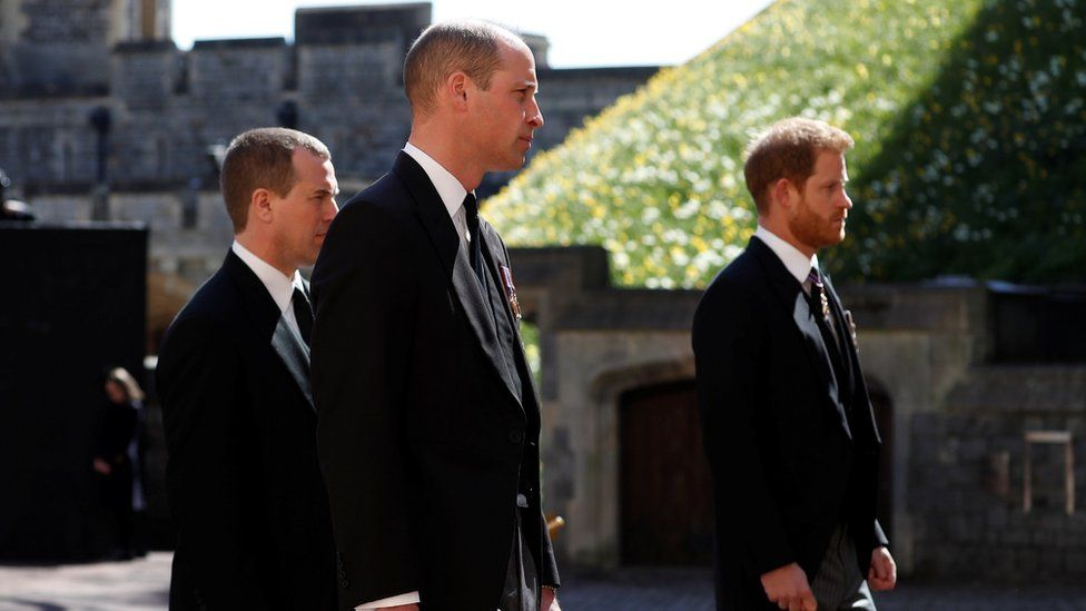 Prince William and Prince Harry walked either side of their cousin Peter Phillips, who trailed slightly behind the pair