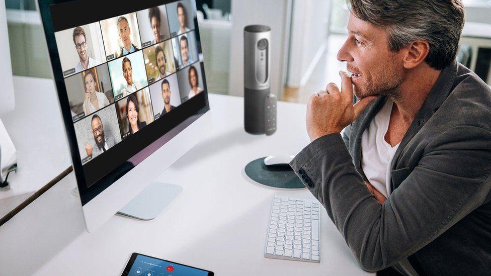 Man talking via Zoom