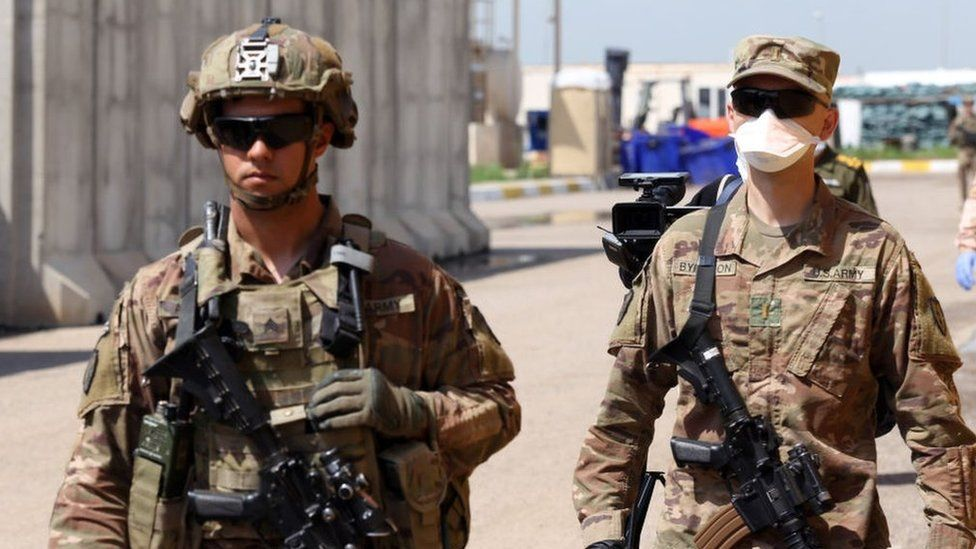 File photo showing US soldiers during the handover ceremony for the K! Air Base in Kirkuk, Iraq, on 29 March 2020