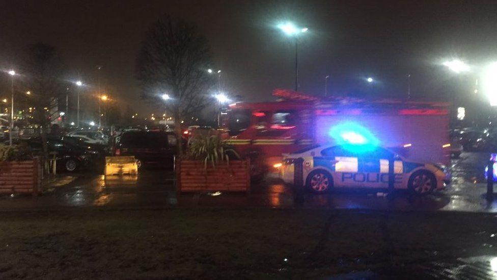 Emergency crews at scene