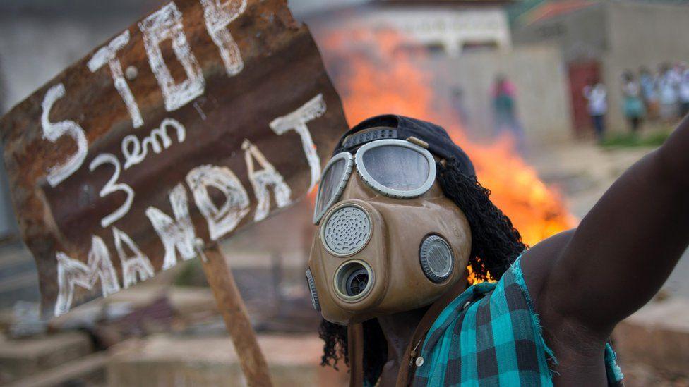 Anti third-term protester