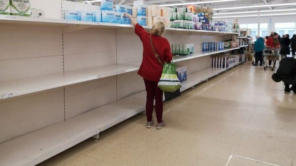 Shopper looking for toilet roll