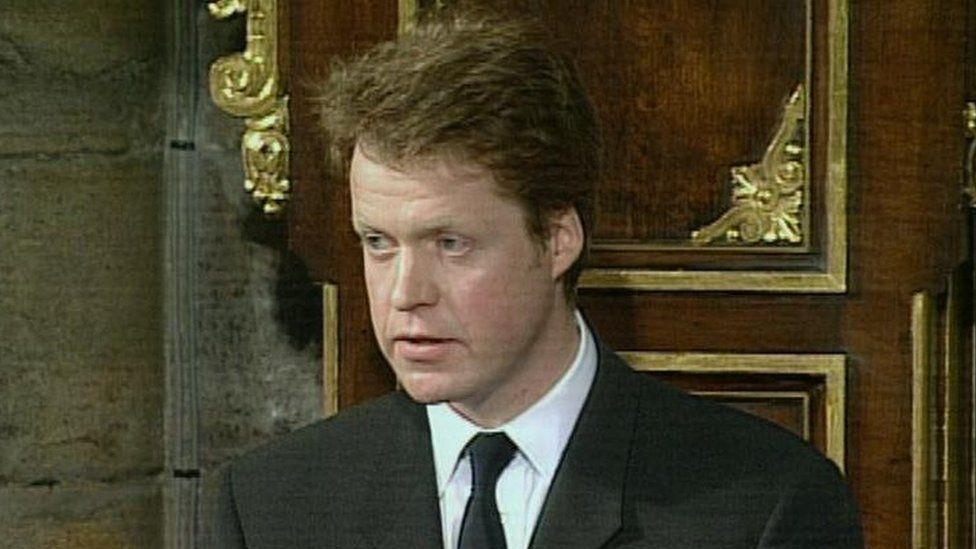 Earl Spencer delivering Diana's eulogy