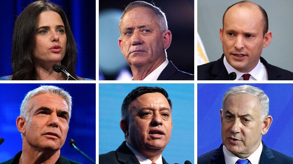 Clockwise from left to right: Ayelet Shaked, Benny Gantz, Naftali Bennett, Benjamin Netanyahu, Avi Gabbay, Yair Lapid