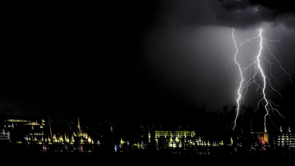 Storm was situated above Ocean Terminal and The Royal Boat Britannia, Edinburgh.