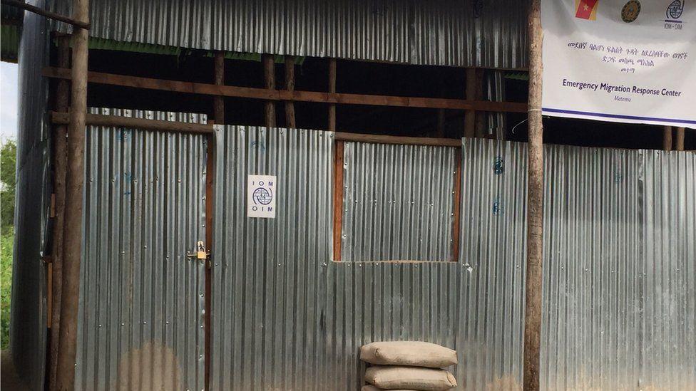 Locked door of the IOM office in Metema, Ethiopia