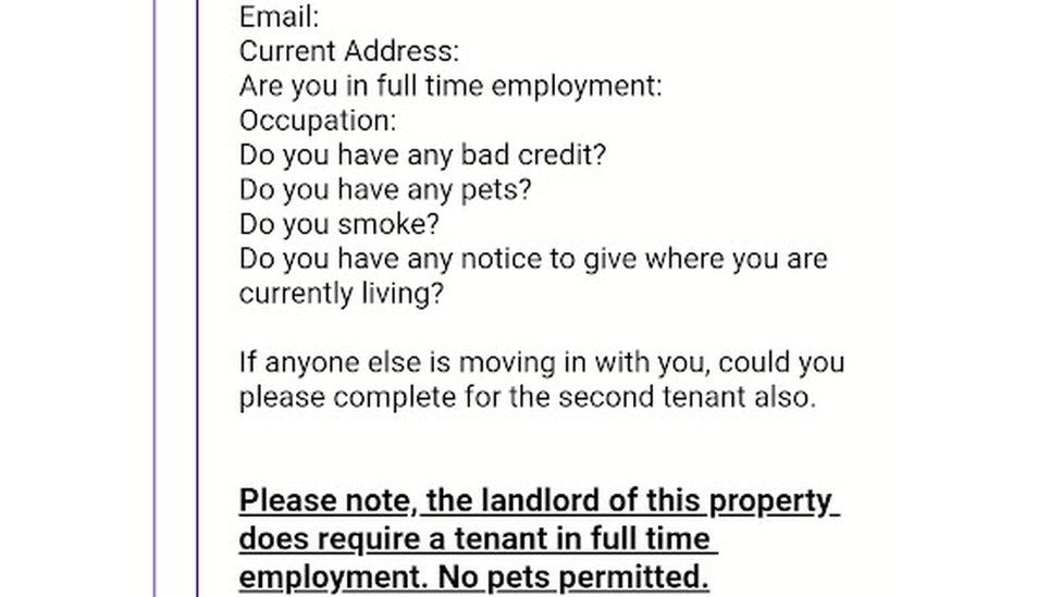 email to a prospective tenant saying the landlord must have a tenant in full-time employment