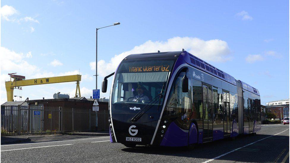 Glider bus in east Belfast