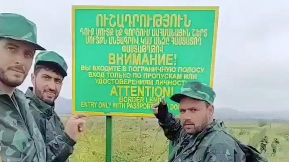 Men reported to be Syrian mercenaries close to the Armenian border