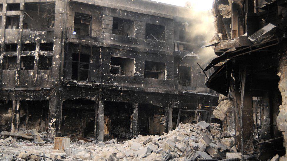 A ruined building in Aleppo, Syria