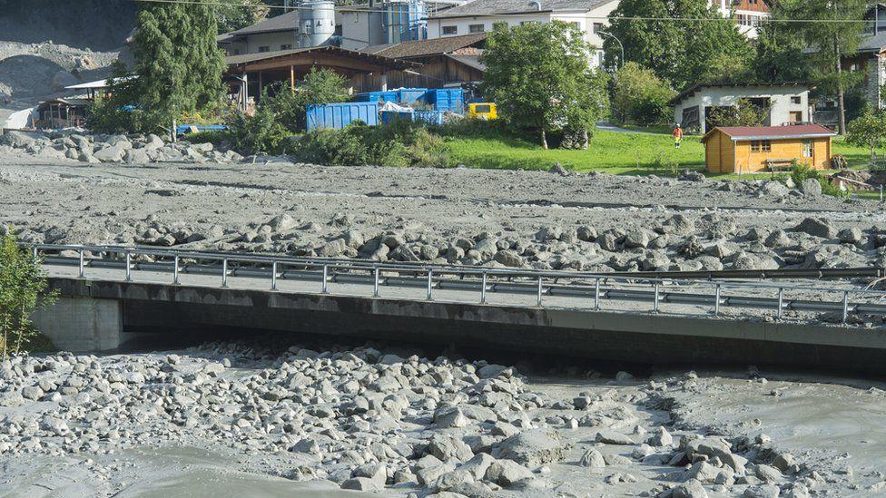 Site of a massive landslide that hit the village of Bondo in Switzerland, 23 August 2017