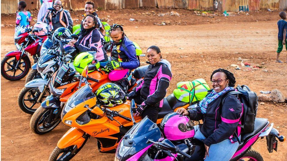 Bikers from the female Kenyan biker gang Inked Sisterhood