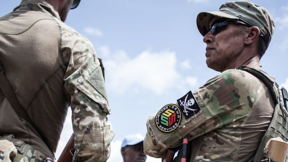 A member of the close protection unit for Central African republic President Touadera, composed by Russian private security company operatives from Sewa Security,