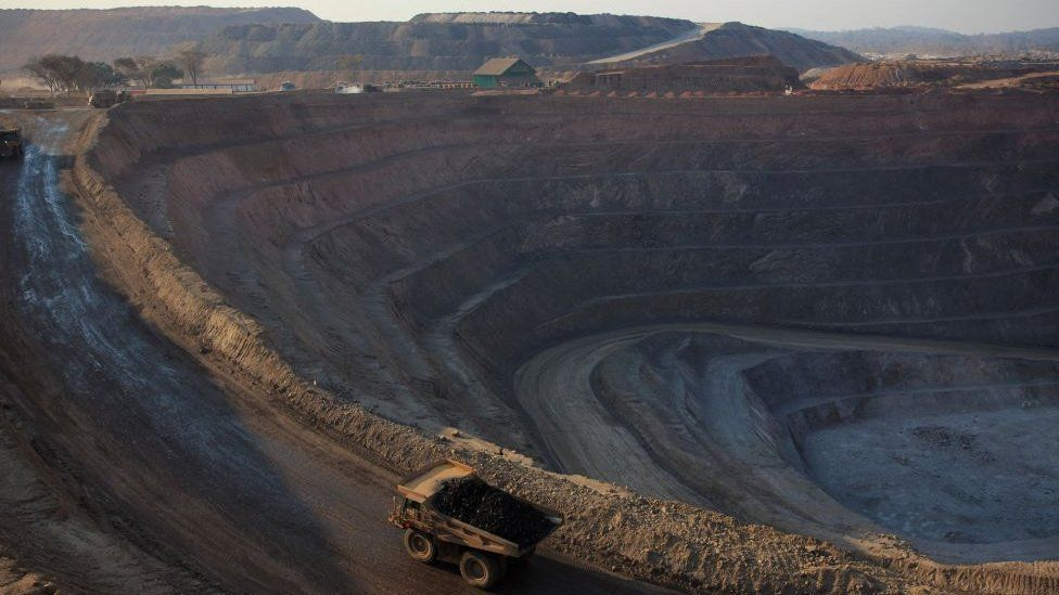 An open pit mine in Kolwezi, DRC, where cobalt and copper is extracted