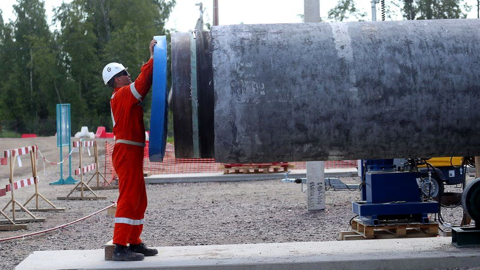 A worker at the construction site of a section of the Nord Stream 2 natural gas pipeline near Kingisepp, Leningrad Region
