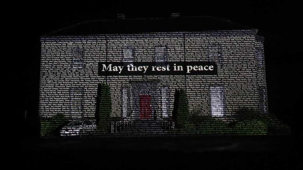 The names of children who died in Bessborough Mother and Baby Home in Cork projected onto Sean Ross Abbey