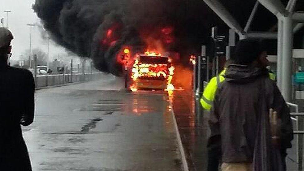 Fire on shuttle bus