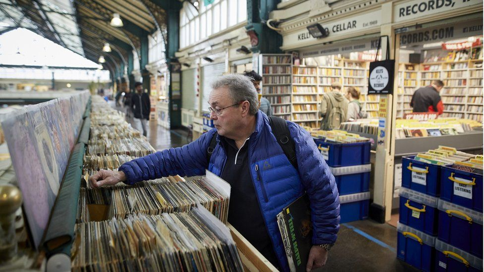 A man peruses records in Cardiff's market