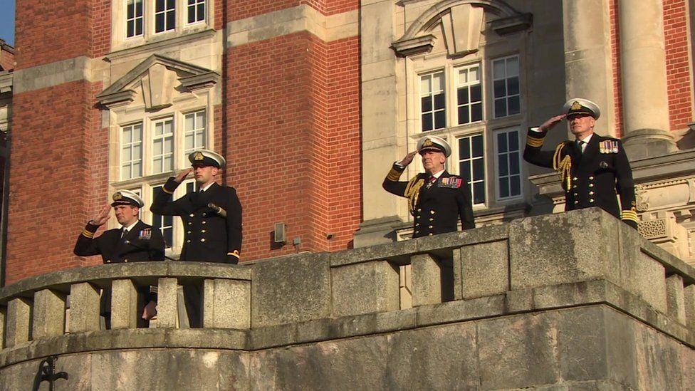 Colours salute at Britannia Royal Naval College
