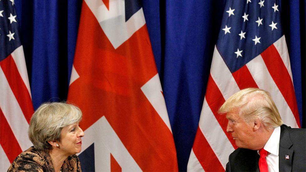 Theresa May meeting Donald Trump in 2017