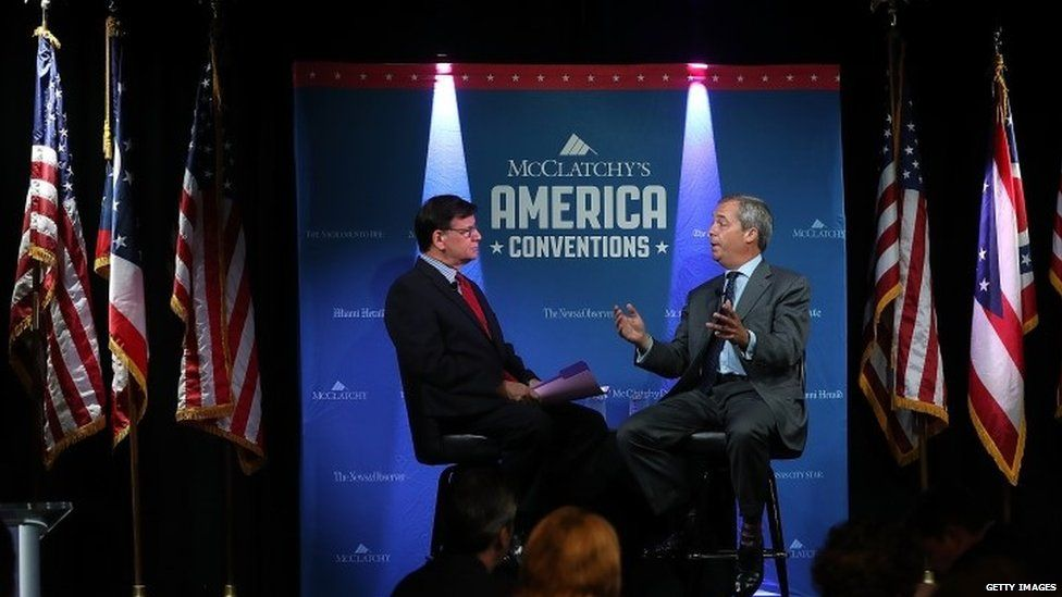 Nigel Farage being interviewed during the Republican convention last month