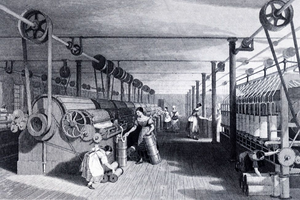 A print from 1830 showing the carding, drawing and roving of cotton in a steam-powered factory