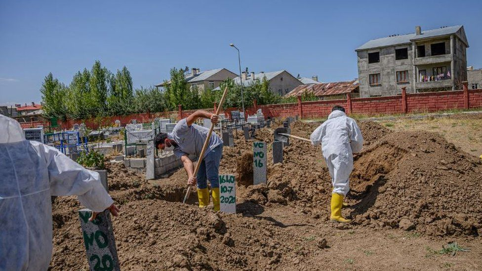 Workers bury the bodies of unidentified victims recovered from Lake Van