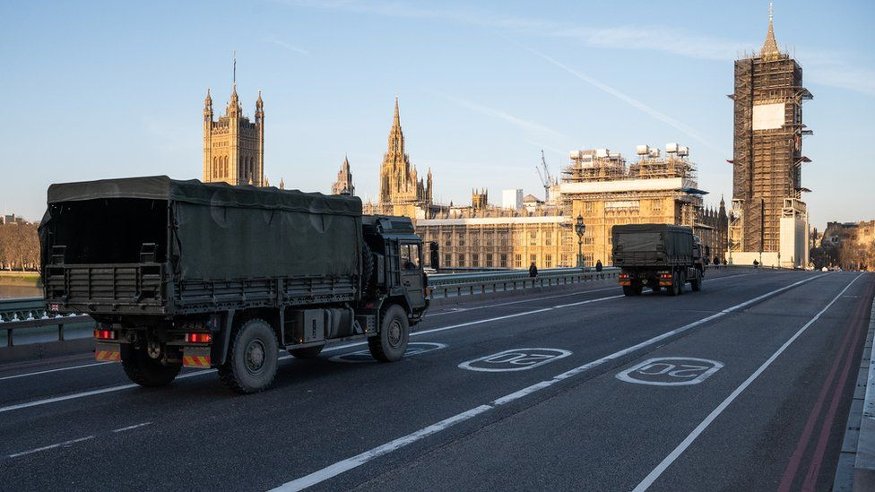 Military vehicles cross Westminster Bridge after members of the 101 Logistic Brigade delivered a consignment of medical masks to St Thomas' Hospital