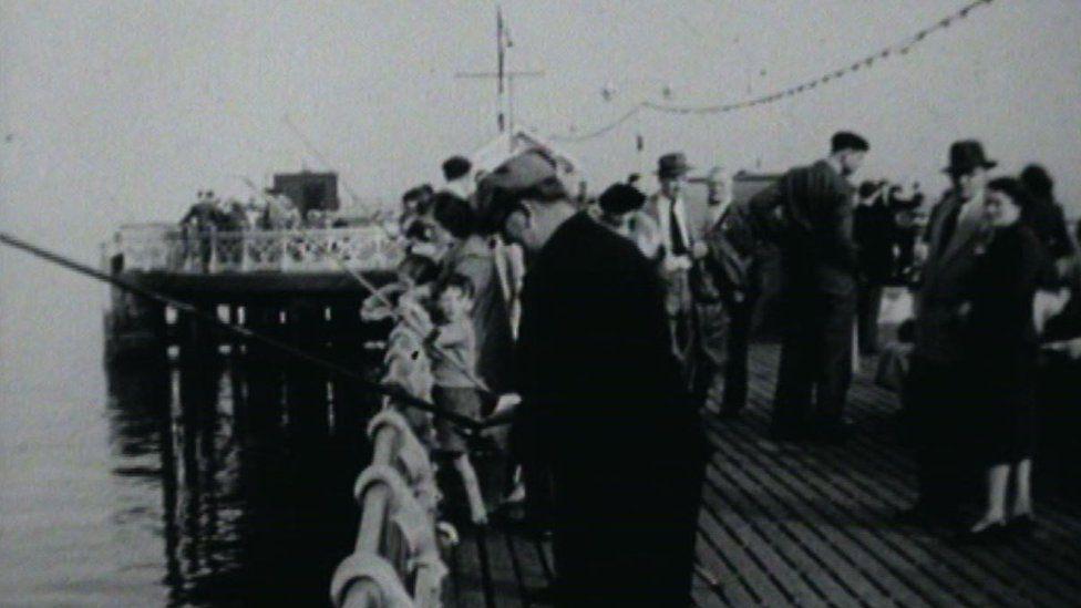 Fishermen on Penarth pier, pictured in 1959