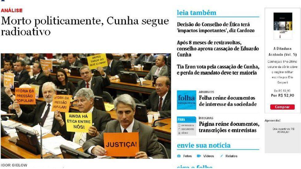 "Headline reading ""Politically dead, Cunha is still radioactive"""