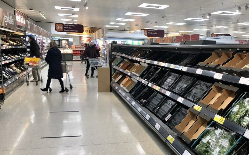 Empty shelves in a supermarket in Northern Ireland