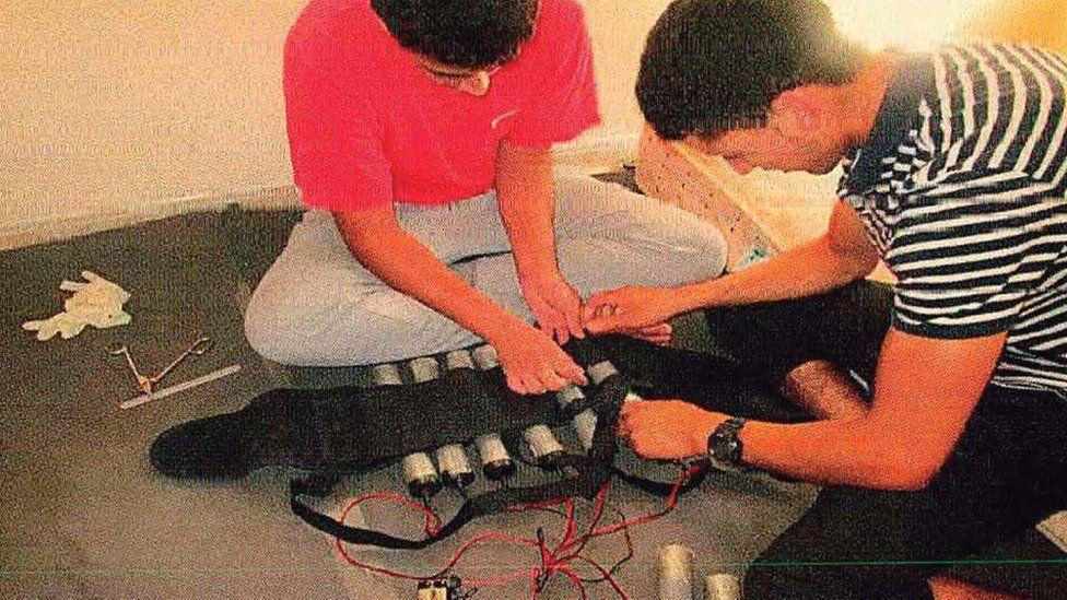 Gang members preparing an explosive belt at a house in Alcanar
